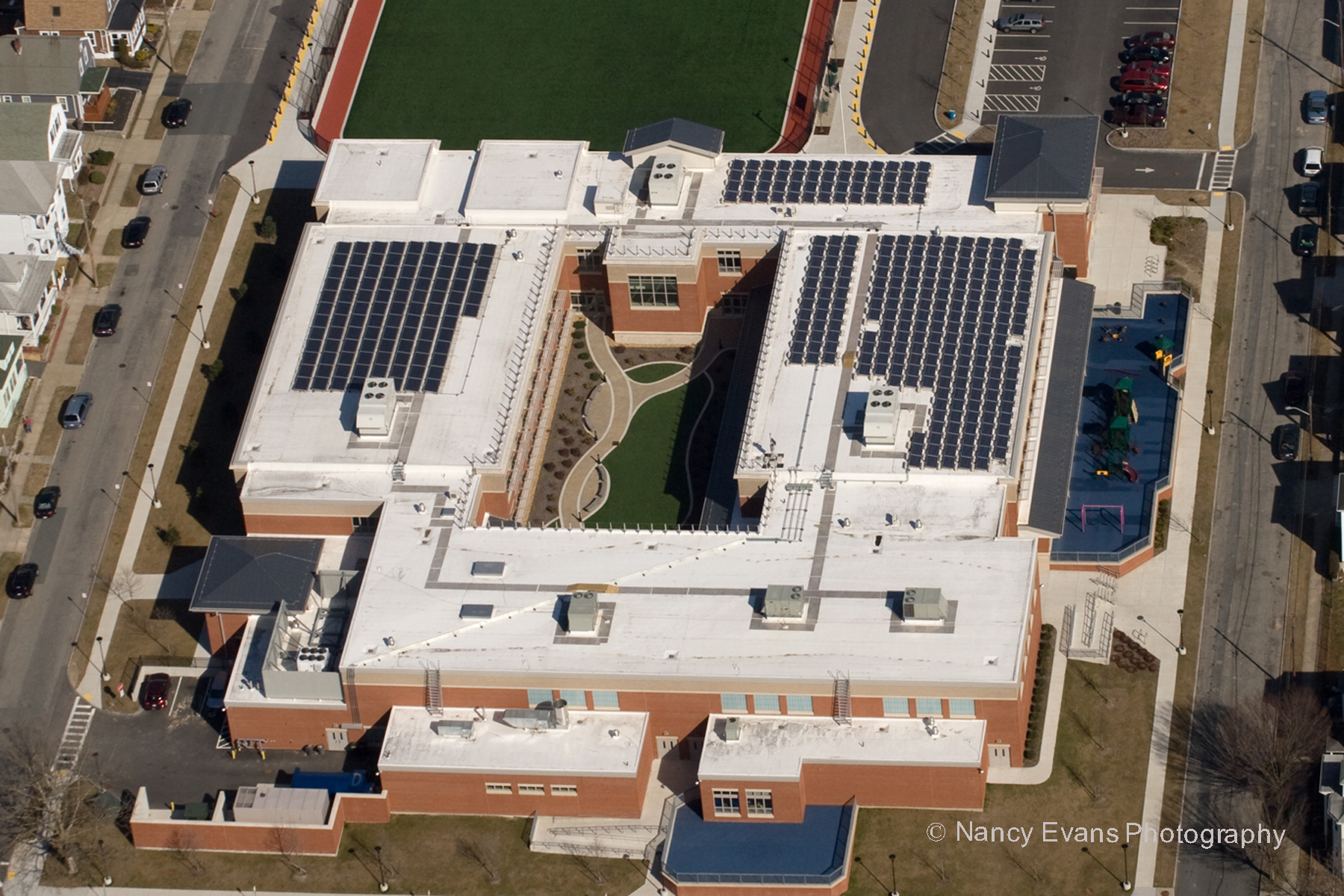 Aerial view 61.1kW Abraham Lincoln Elementary engineering, design, installation by Beaumont Solar