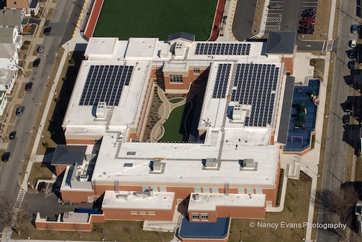 Aerial view of the completed 61.10kW solar system - Abraham Lincoln Elementary School New Bedford MA