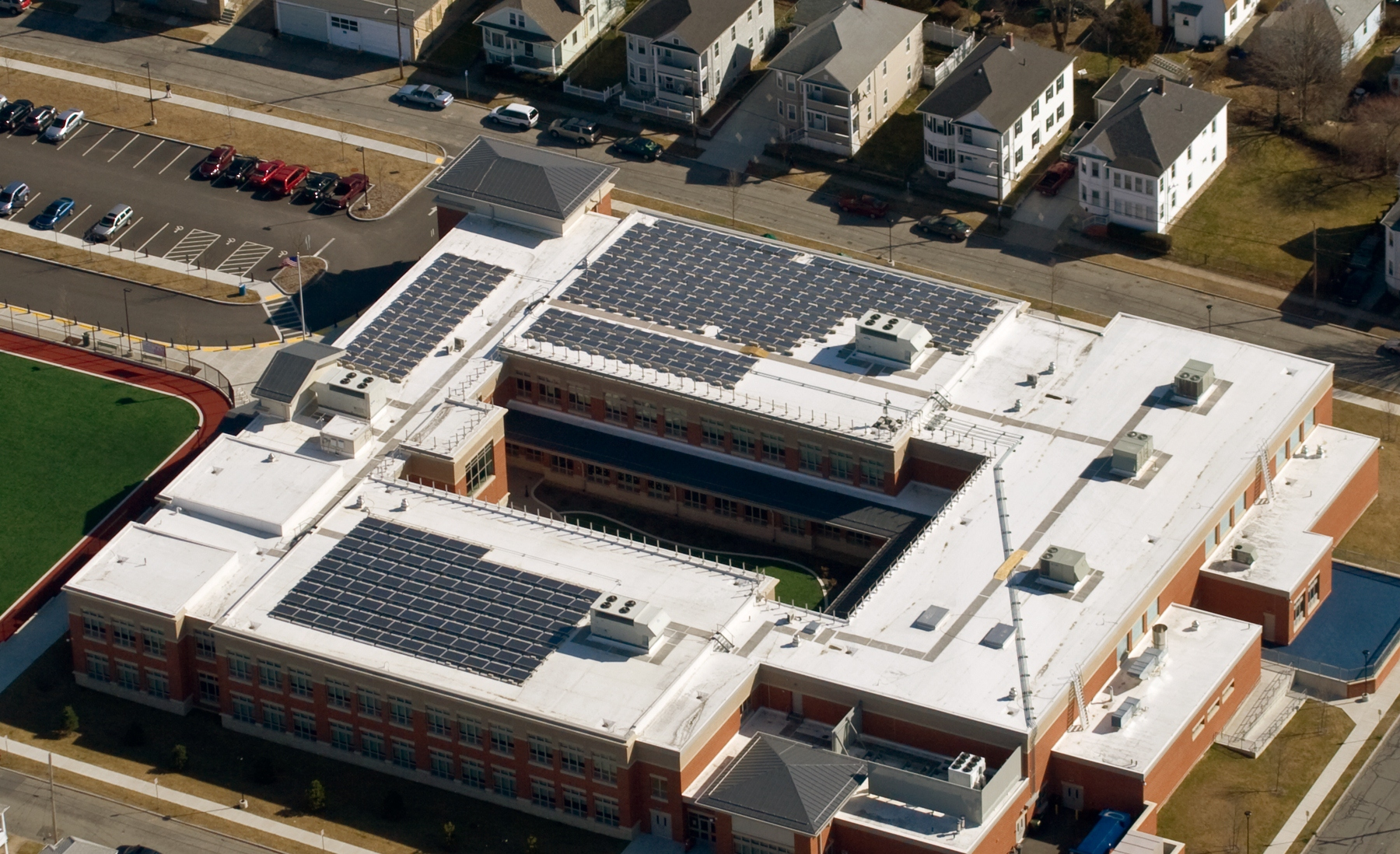 Aerial view of the entire 61.1kW solar array on the elementary school