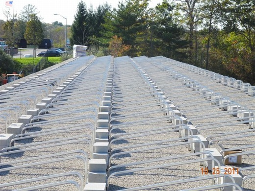 Ballasted rail mount system ready for panel install