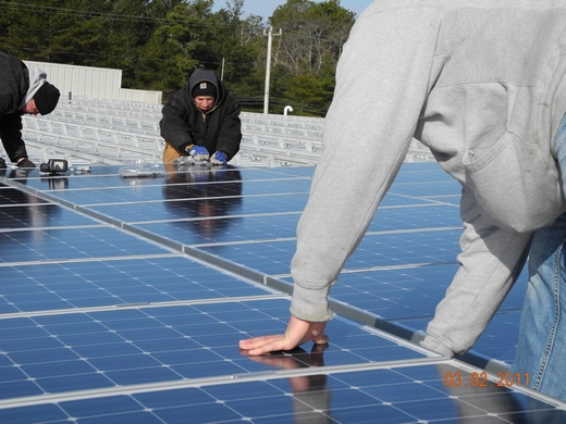Beaumont Solar in-house installation team installs the panels