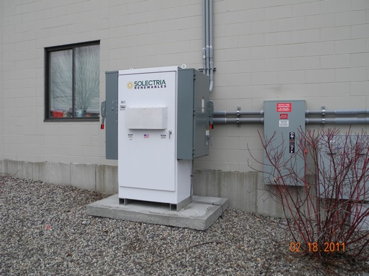 Conduit runs from rooftop array to inverter