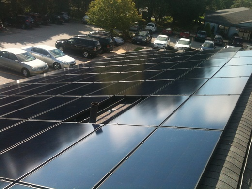 Entire 30.555kW system is installed on asphalt shingles