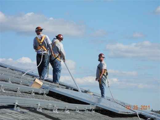 Members of the Beaumont Solar in-house installation team during install