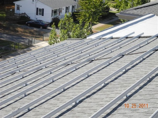 Normandin Middle School, solar rail system on shingled roof