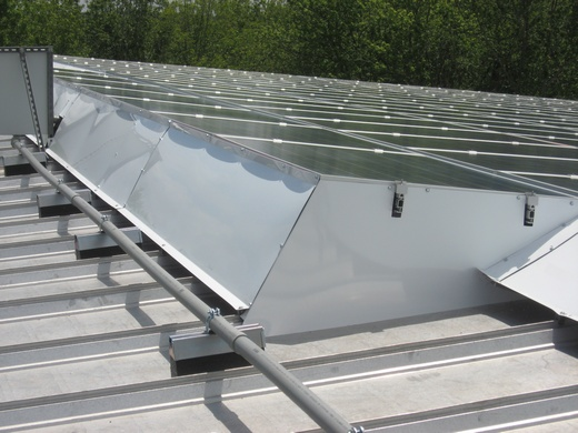 Portion of array on metal roof