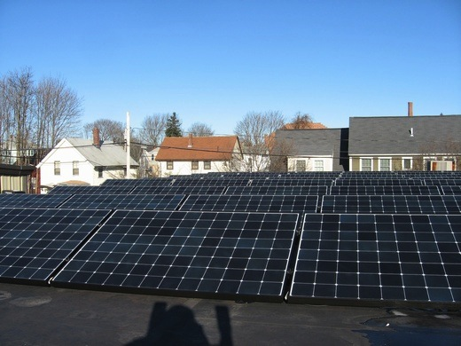 Portion of our building's array installed on the rubber membrane roof section