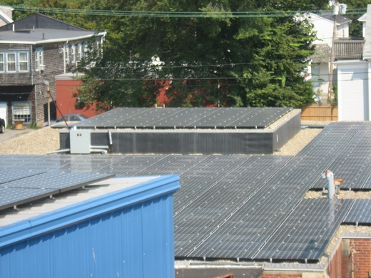 Portion of system installed on gravel roof