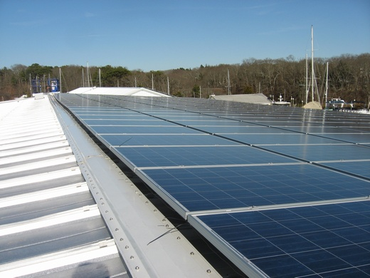 Portion of the completed 100kW system which spans three roofs