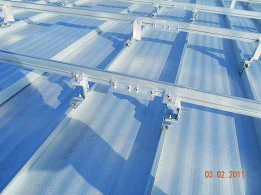 Racking installed on a standing seam roof