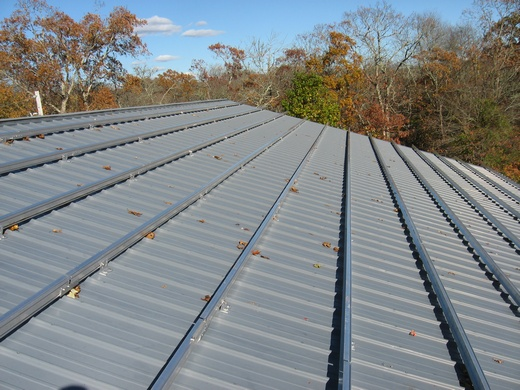 Solar racking installed on metal roof