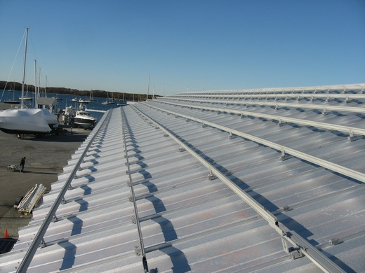 Solar racking on metal roof