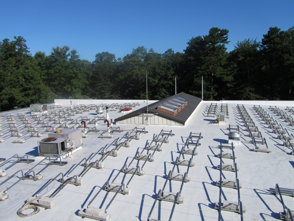 View of ballast racking system for this 121.03kW solar energy system