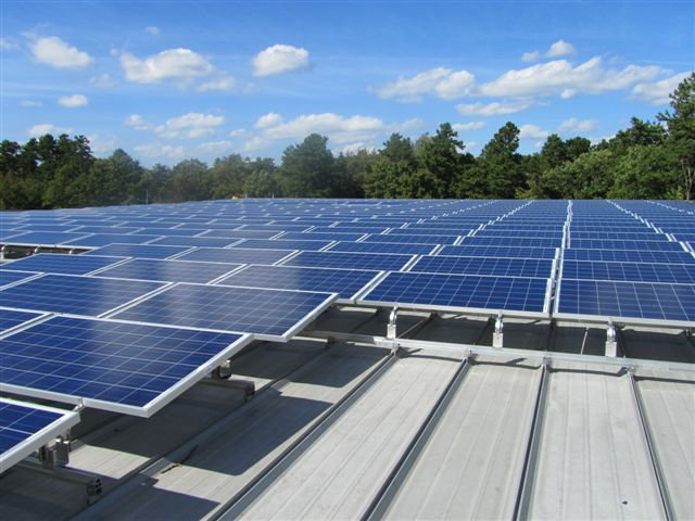 View of solar system installed on metal standing seam roof