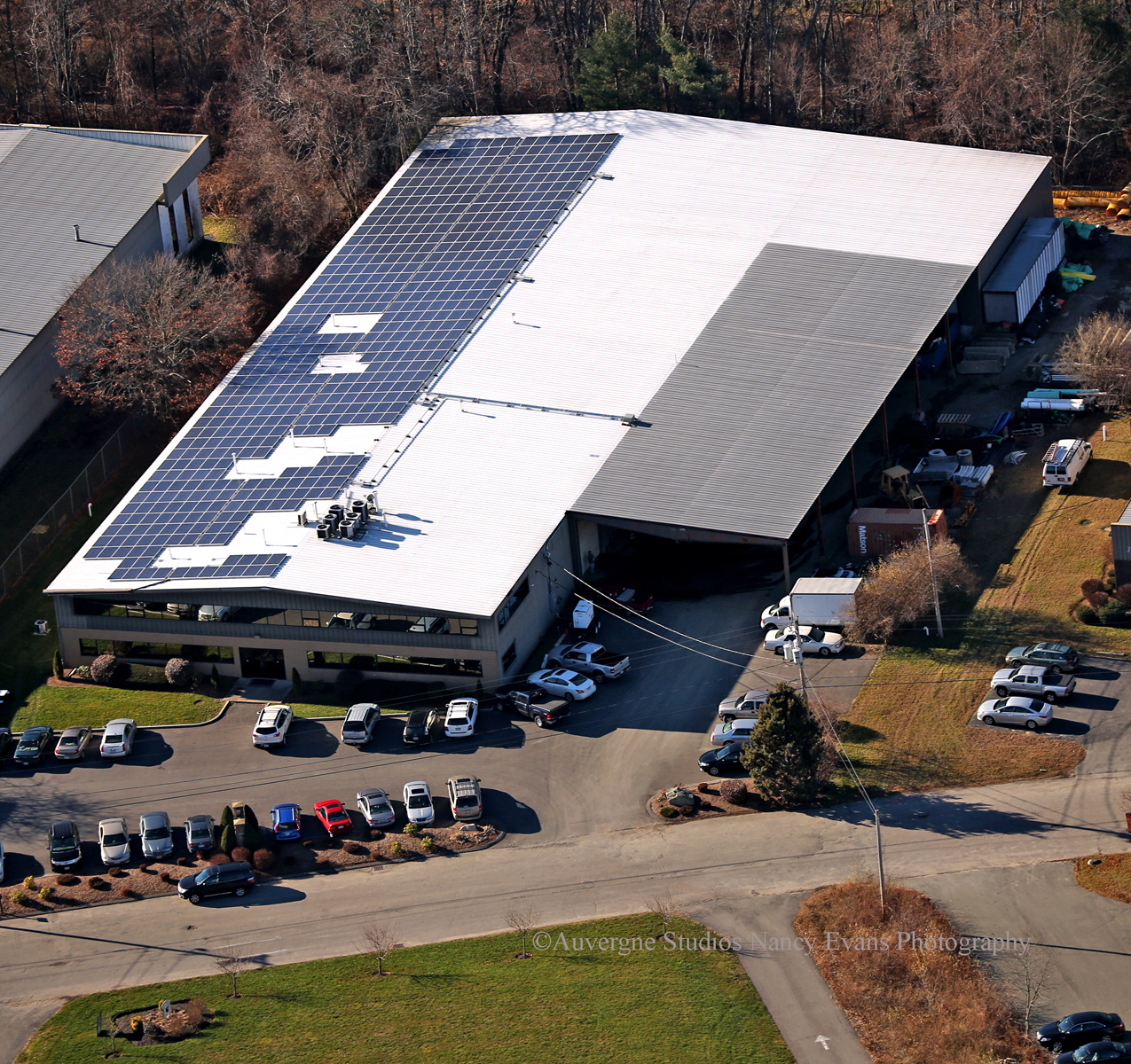 Aerial view of completed 124.8kW solar system engineered, designed and installed by in-house Beaumont Solar personnel