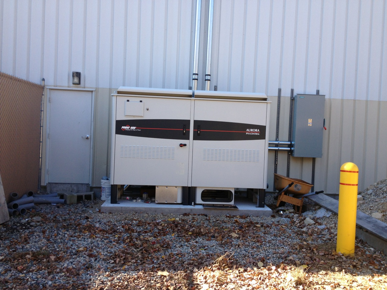 This solar energy system utilizes a 300kW 480V inverter, designed specifically to avoid upgrades to the grid