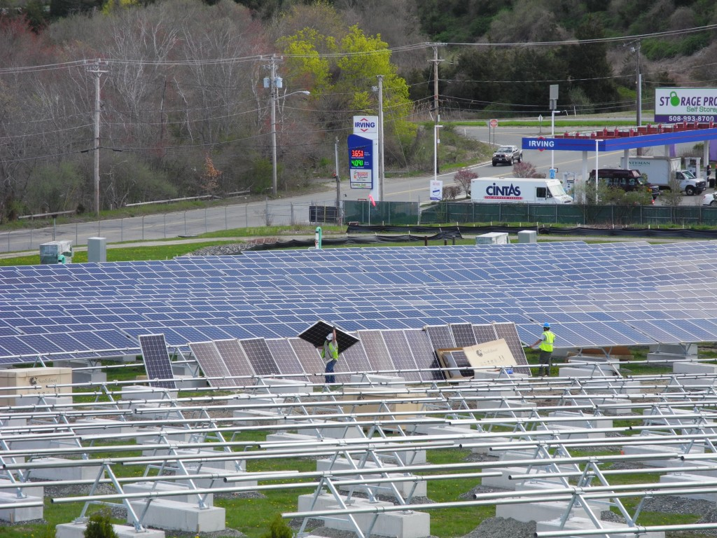 The 5,962 solar modules for the 1.8MW solar system are installed