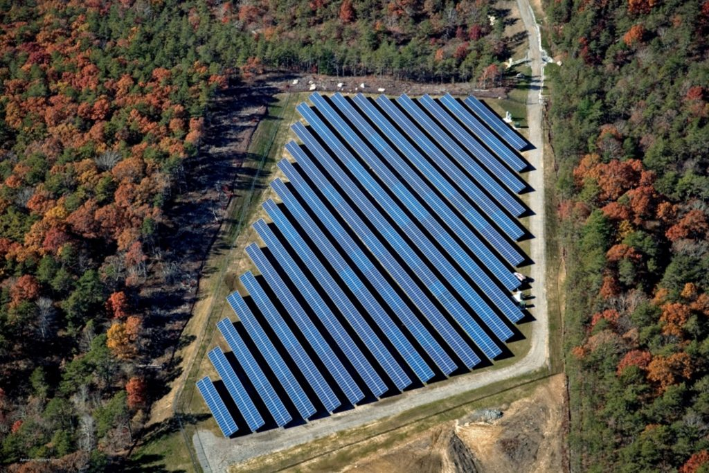 Aerial view of the community solar farm designed, engineered and constructed by Beaumont Solar, providing power to local community offtakers and residents.