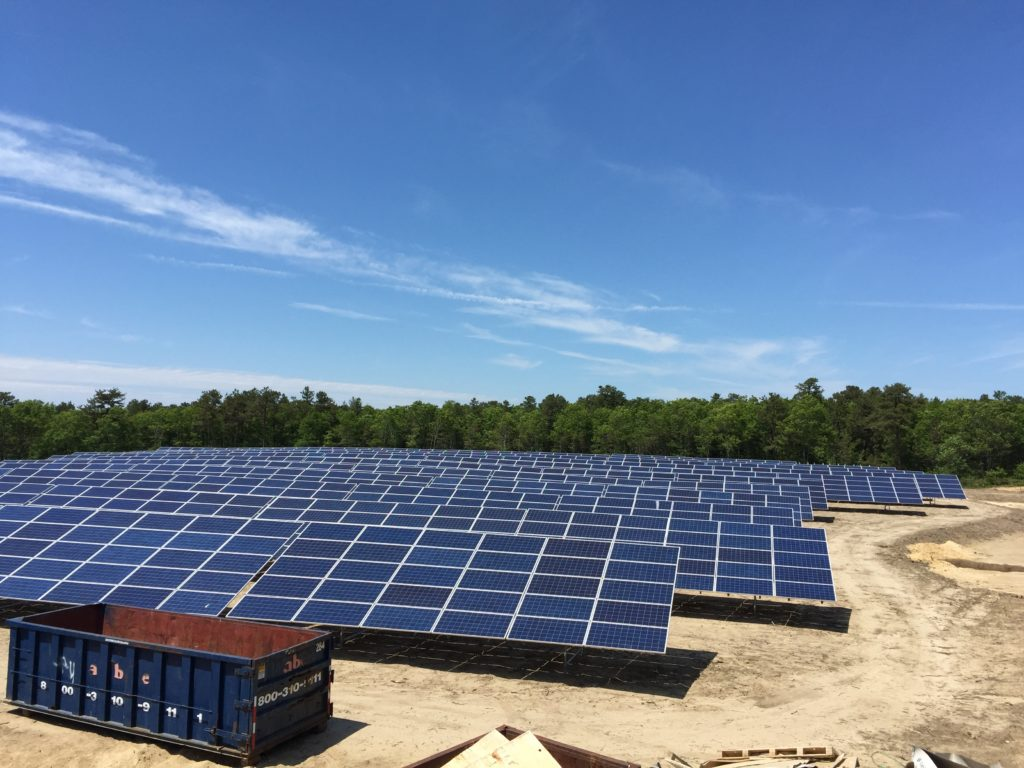 Southern view of the solar array on a beautiful sunny day down the Cape