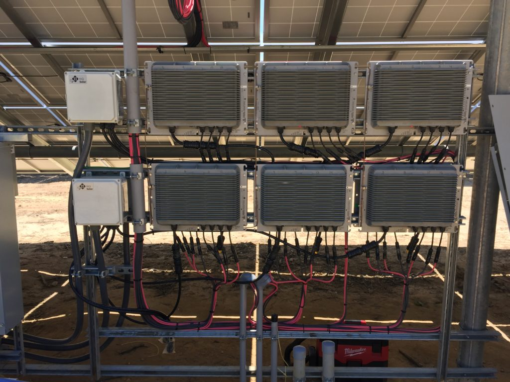 A portion of the micro inverters installed by Beaumont Solar electrical crew on inverter racks