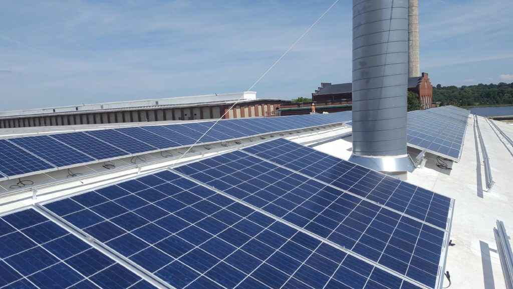In total, the 272,000 square foot roof has 43 saw-tooth sections in total that Beaumont Solar outfitted with solar.
