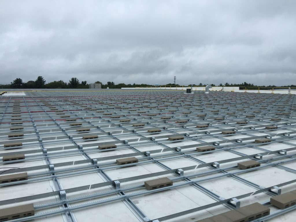 View of non-penetrating, ballasted racking system.