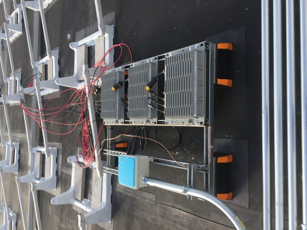 String wiring is installed to the solar inverters prior to the solar panels being installed.