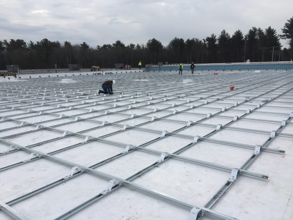 Our crew is almost completed installing the solar racking system.