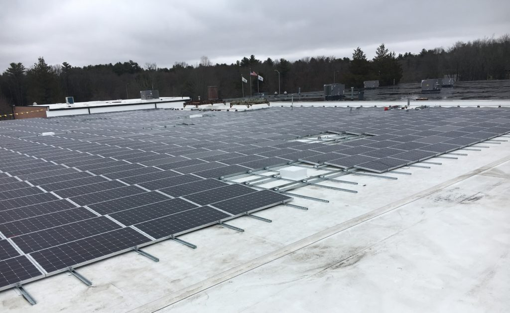 A view of the completed 403kW DC solar array